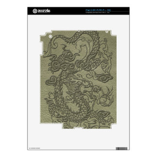 Embossed Dragon On olive green leather print Decal For The iPad 2