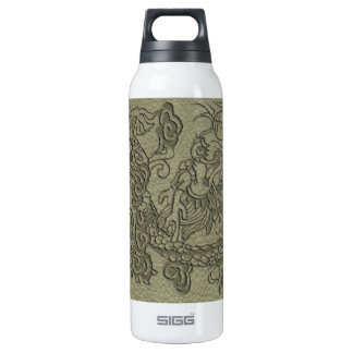 Embossed Dragon On olive green leather print Insulated Water Bottle