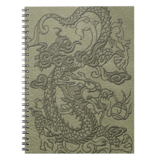 Embossed Dragon On olive green leather print Notebook