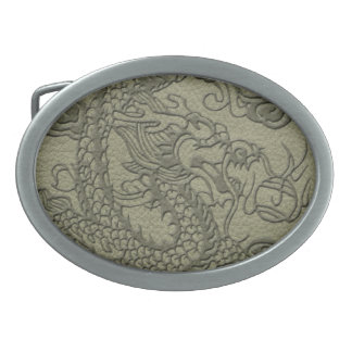 Embossed Dragon On olive green leather print Oval Belt Buckle