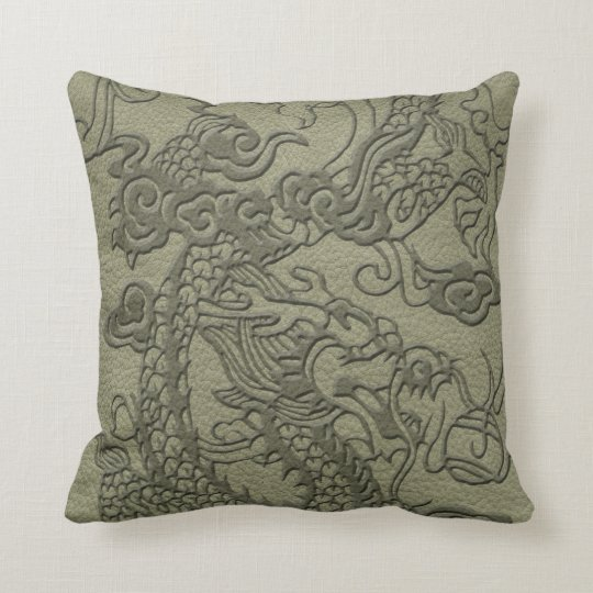 Embossed Dragon On olive green leather print Throw Pillow