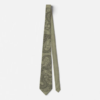 Embossed Dragon On olive green leather print Tie