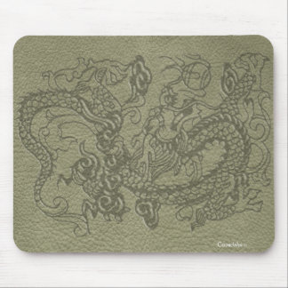 Embossed Dragon on Olive Green Leather Texture Mouse Pad