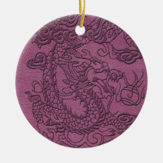 Embossed Dragon on pink grape Leather Print Ceramic Ornament