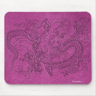 Embossed Dragon on Pink Leather Texture Mouse Pad
