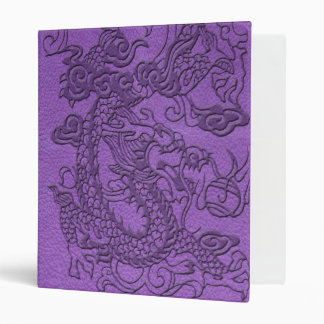 Embossed Dragon on Purple Leather print 3 Ring Binder
