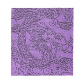 Embossed Dragon on Purple Leather print Note Pad