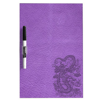 Embossed Dragon on Purple Leather Texture Dry Erase Boards