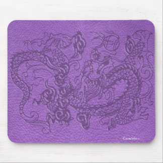 Embossed Dragon on Purple Leather Texture Mouse Pad