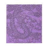 Embossed Dragon on Purple Leather Texture Memo Notepads (<em>$13.95</em>)
