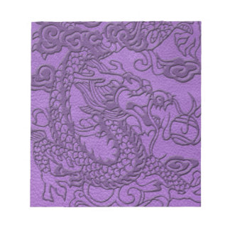 Embossed Dragon on Purple Leather Texture Memo Notepads