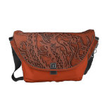 Embossed Dragon On Red Earth Leather Texture Courier Bag at Zazzle