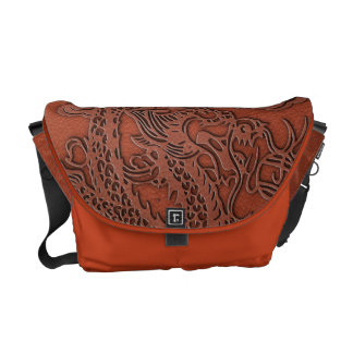 Embossed Dragon On Red Earth Leather Texture Courier Bag