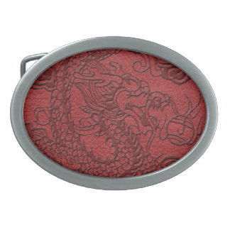 Embossed Dragon On red leather print Belt Buckle