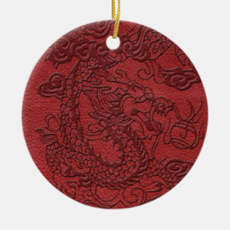 Embossed Dragon On red leather print Ceramic Ornament