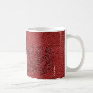 Embossed Dragon On red leather print Coffee Mug