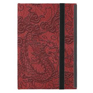 Embossed Dragon On red leather print iPad Mini Case