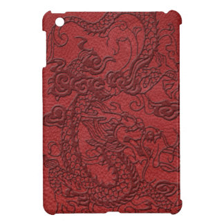 Embossed Dragon On red leather print iPad Mini Covers