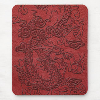 Embossed Dragon On red leather print Mouse Pad