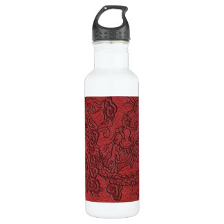 Embossed Dragon On red leather print Stainless Steel Water Bottle