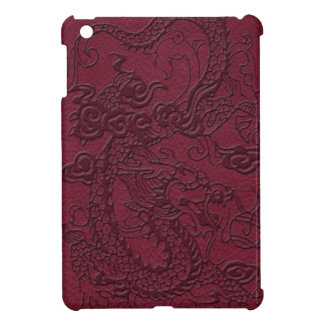 Embossed Dragon on Red Wine Leather Texture Case For The iPad Mini