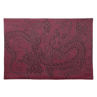 Embossed Dragon on Red Wine Leather Texture Cloth Placemat