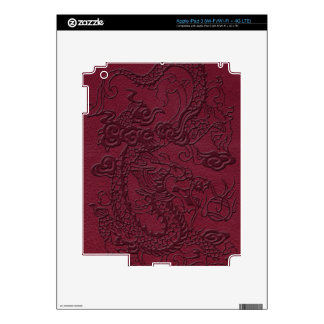 Embossed Dragon on Red Wine Leather Texture Decal For iPad 3