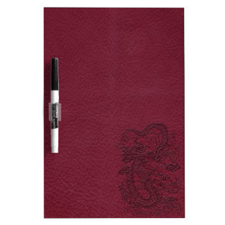 Embossed Dragon on Red Wine Leather Texture Dry-Erase Whiteboards