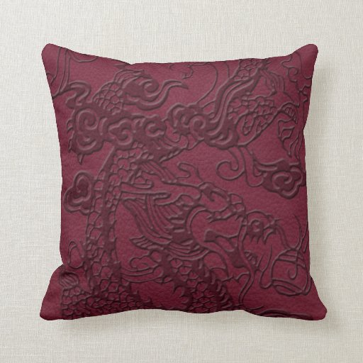 Embossed Dragon on Red Wine Leather Texture Pillow