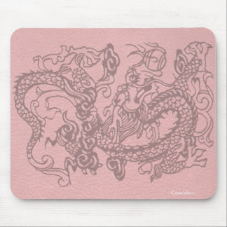 Embossed Dragon on Salmon Leather Texture Mouse Pad