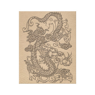 Embossed Dragon on Shell Color Leather Texture Canvas Print