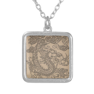 Embossed Dragon on Shell Color Leather Texture Silver Plated Necklace