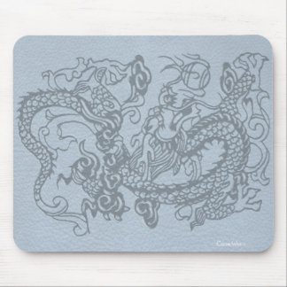 Embossed Dragon on Sky Blue Leather Texture Mouse Pad