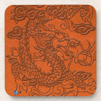 Embossed Dragon on Tangerine Leather Texture Drink Coaster