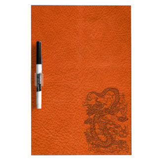 Embossed Dragon on Tangerine Leather Texture Dry Erase Whiteboards