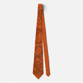 Embossed Dragon on Tangerine Leather Texture Neck Tie
