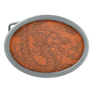 Embossed Dragon on Tangerine Leather Texture Oval Belt Buckle