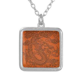 Embossed Dragon on Tangerine Leather Texture Silver Plated Necklace