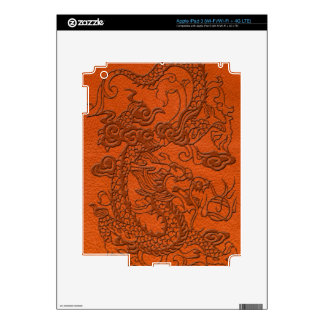 Embossed Dragon on Tangerine Leather Texture Skin For iPad 3