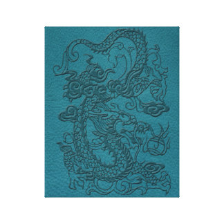 Embossed Dragon On Teal Leather print