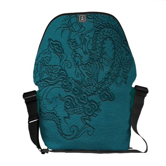 Embossed Dragon On Teal Leather print Courier Bag