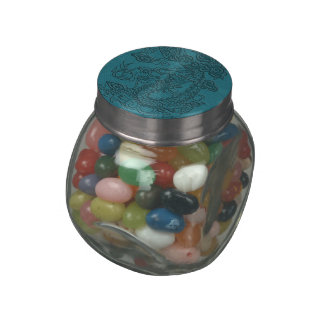 Embossed Dragon On Teal Leather print Jelly Belly Candy Jar