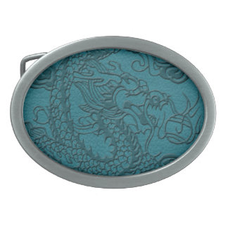 Embossed Dragon On Teal Leather print Oval Belt Buckle