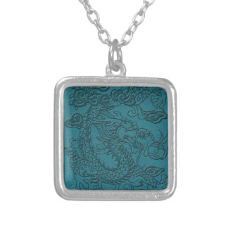 Embossed Dragon On Teal Leather print Square Pendant Necklace