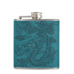 Embossed Dragon on Till Leather Texture Hip Flask