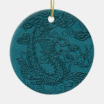 Embossed Dragon On Till Leather Texture Christmas Tree Ornaments