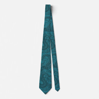 Embossed Dragon On Till Leather Texture Tie
