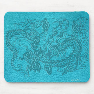 Embossed Dragon on Turquoise Leather Texture Mouse Pad