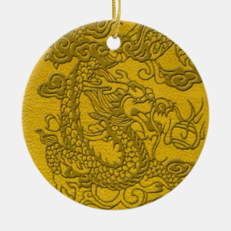 Embossed Dragon On yellow leather print Ceramic Ornament