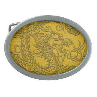 Embossed Dragon On yellow leather print Oval Belt Buckle